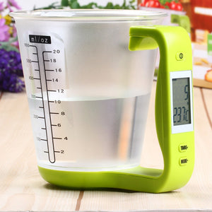 Hostweigh Digital Cup Kitchen Scales Electronic Measuring Tool Household Jug Scale with LCD Display Temp Measurement Cups Libra