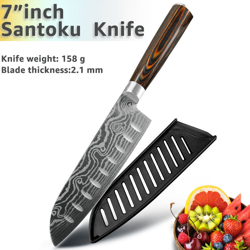 Kitchen Knife 8 Inch Japanese Chef Knives 7CR17 440C Stainless Steel Set Laser Damascus Drawing Slicer Meat Santoku Cleaver Tool