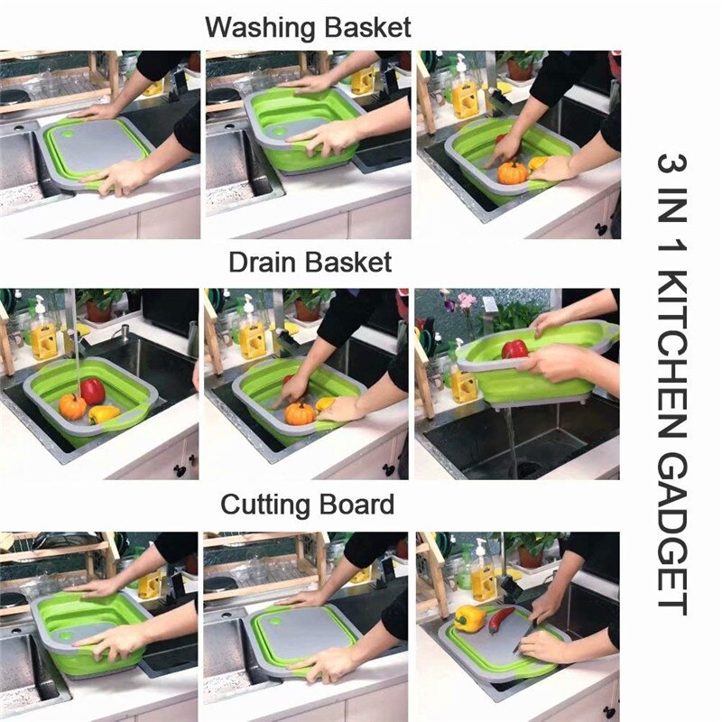 Folding Chopping Blocks 3 In 1 Multifunctional Folding Vegetable Basket Portable Cutting Board for Kitchen Home Living