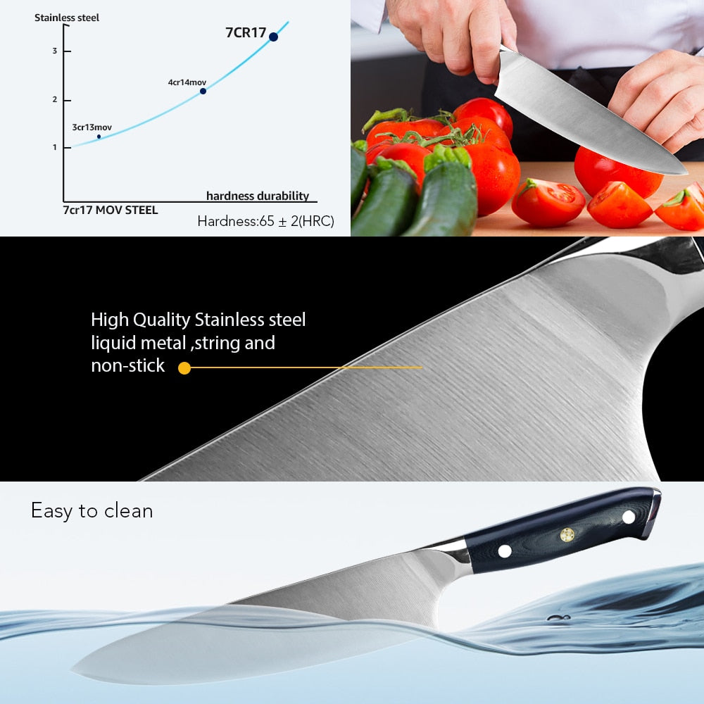 Kitchen knife high carbon Stainless steel 8 inch chef meat japenese knives 4116 German steel vegatable fruit cooking tool set
