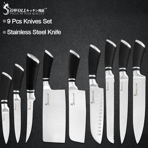 Sowoll 9pcs Stainless Steel Knives Set Non-slip Handle Chef Chopping Boning Cleaver Kitchen Knives Cooking Household Tools