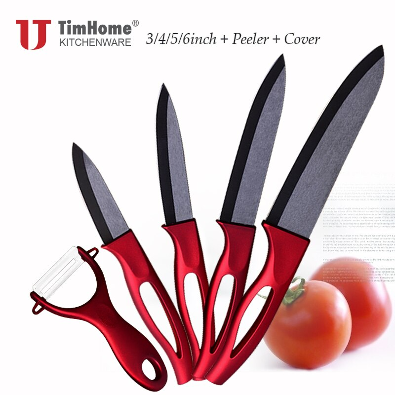 "Timhome zirconia kitchen ceramic knife set 6"" 5"" 4"" 3"" inch with hollow handle kitchen knife cooking tools"
