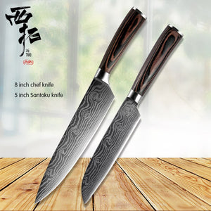 XITUO Stainless steel kitchen chef knife bread boning knife utility Paring Santoku laser Damascus pattern colored wooden handle