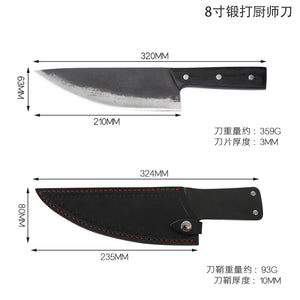 XYj Handmade Full Tang Camping Serbian Chef Forging Knife Outdoors Sliced Kitchen Butcher Knife Hand Tools Case Cover Sheath