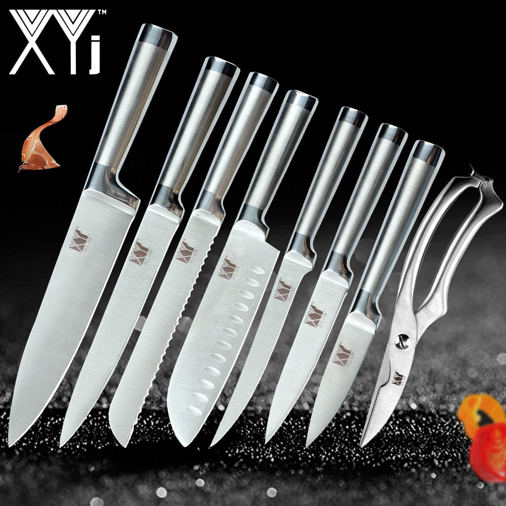 XYj Stainless Steel Kitchen Knives Set Fruit Paring Utility Santoku Chef Slicing Bread Boning Fish Scissor Knife Set Accessories