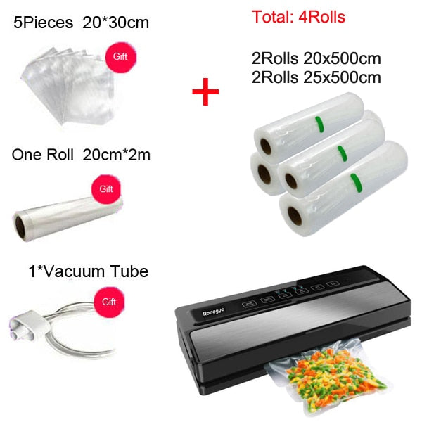 Automatic 110W Vacuum Sealing Machine Home Best Vacuum Sealer Fresh Packaging Machine Food Saver Vacuum Packer with 1roll bag