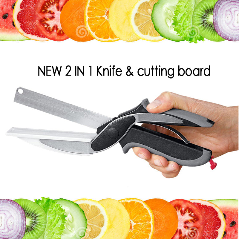 NEW clever smart 2 in 1 utility cutter knife&board stainless steel cutter Meat Potato cheese vegetable multi-function scissors