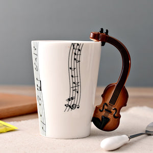 New Design Ceramic Music Score Design Cups Mugs with Violin Guitar Hand Shank Coffee Cups