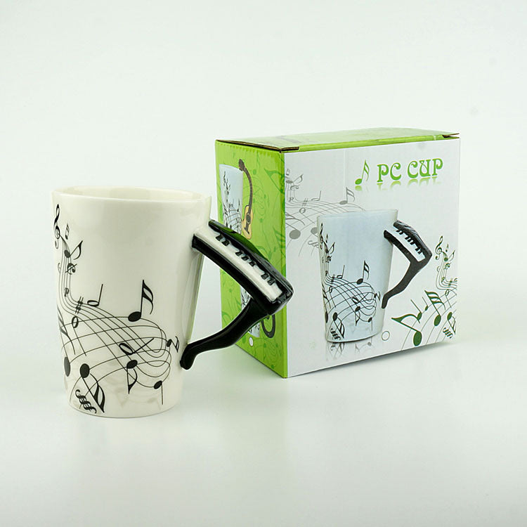 Novelty 220ml Piano Ceramic Cup Personality Music Note Milk Juice Lemon Mug Coffee Tea Cup Christmas New Year Gift