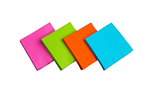 Party Essentials 2-Ply Paper Cocktail Beverage Napkins, Assorted Neon Brights, 48-Count - Diamond Events and Catering