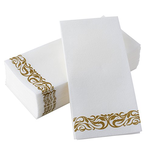 Disposable Hand Towels & Decorative Bathroom Napkins | Soft and Absorbent Linen-Feel Paper Guest Towels For Kitchen, Parties, Weddings, Dinners or Events | White and Gold (100-Pack) - Diamond Events and Catering