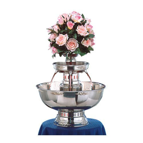 4004-GT Princess 7 Gallon SS Beverage Fountain with Gold Bow Tie Trim & Floral Cup - Diamond Events and Catering