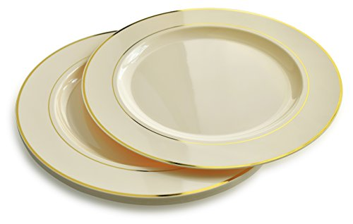 120 PACK, Extra Heavyweight Disposable Wedding Party Plastic Plates / Chargers / Serving Tray (12'' Plate, Ivory with Gold Rim) - Diamond Events and Catering