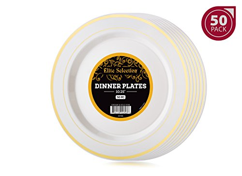 Pack of 50 Dinner Disposable Plastic Party Plates Ivory Cream Color With Gold Rim 10.25-Inch - Diamond Events and Catering