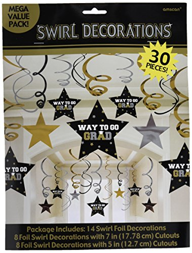 Graduation Star Swirl Decorations (Black/Silver/Gold) Party Accessory 30 pieces - Diamond Events and Catering