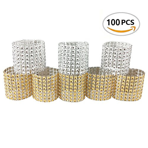100PCS Rhinestone Napkin Rings Diamond Decoration for Wedding Party Banquet Reception Catering - Diamond Events and Catering