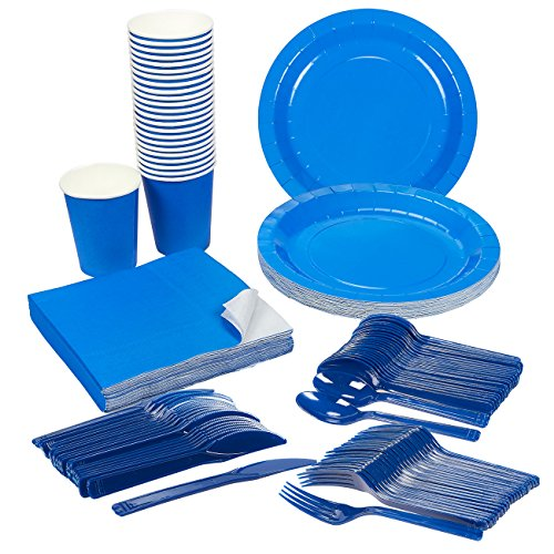 Disposable Dinnerware Set - Serves 24 - Blue Party Supplies - Includes Plastic Knives, Spoons, Forks, Paper Plates, Napkins, Cups, Blue - Diamond Events and Catering