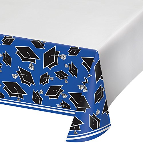 "Plastic Tablecover for Graduation Party, 54"" x 102"", Cobalt Blue - Diamond Events and Catering"