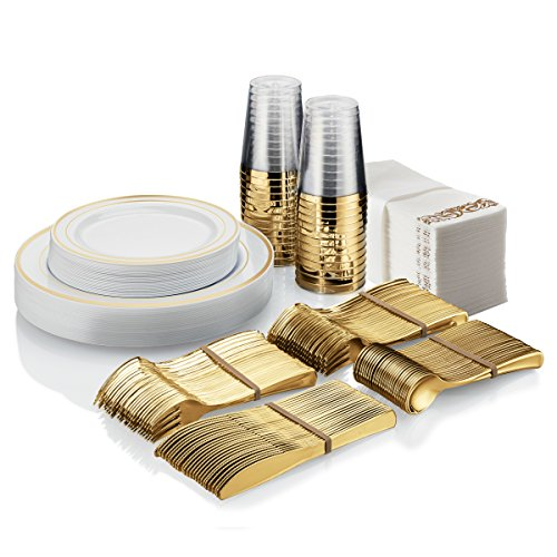 Disposable Plastic Tableware Set - 25 Guests - 225 Pcs - Party & wedding - Guest Towels, Gold-Look Forks, Spoons and Knives, Gold Rimmed Dinner & Dessert Plates & Tumblers - Diamond Events and Catering