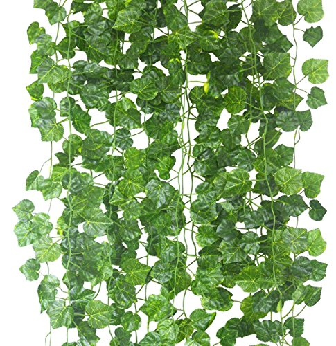 Fake Ivy Vine artificial Plant Flowes Vine 84ft-12strands Faux Fake Flower Silk Green Leaves Hanging Vine Garland for Wedding Home Kitchen Office Wall Outdoor Outside Party Decor(Grape Leaves) - Diamond Events and Catering