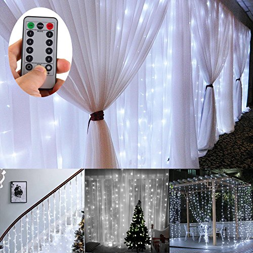 Battery Operated 300 LED Curtain String lights w/ Remote & Timer, Outdoor Curtain Icicle Wall Lights For Wedding Backdrops, Christmas, Holiday, Camping Decoration (9.8×9.8ft, Dimmable, Cool White) - Diamond Events and Catering