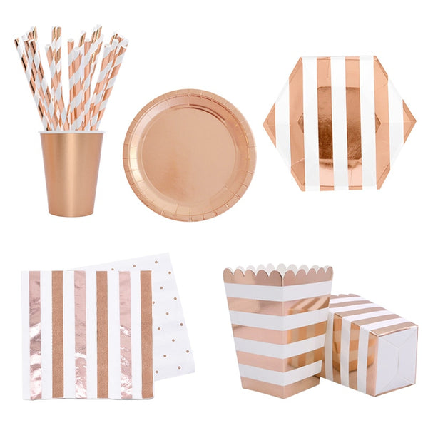 Rose Gold Party Disposable Tableware Set Party Paper Cups Plates Straws Party Table Decoration Wedding Birthday Party Supplies