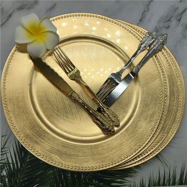 Dishwasher Safe 13 inch Gold  Beaded Charger Plates - Diamond Events and Catering
