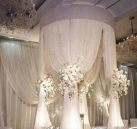 White Silk Drapes Canopy Set With Stand Wedding Outdoor Decorations 3m High 2m Diameter Round