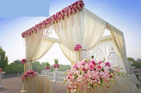 Ivory square canopy drape with stainless steel Stand,wedding stage curtain Wedding Supply 3M*3M*3M