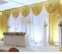 White and Gold Wedding Backdrop Curtain with Swag Wedding Drapes - Diamond Events and Catering