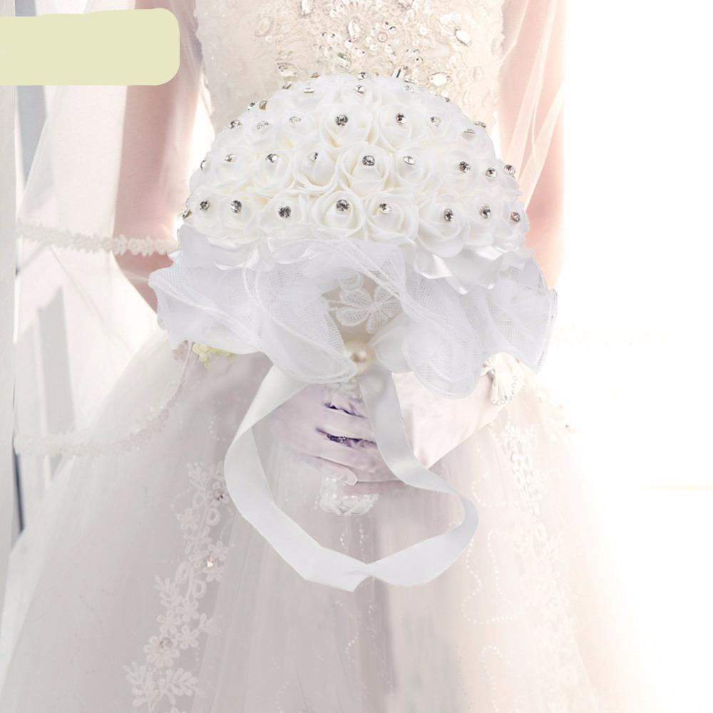 Bridal Bouquet Foam Roses Artificial Flowers Luxury Rhinestones ...