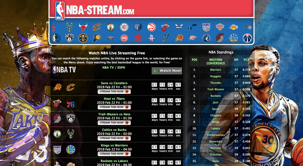 NBA-stream.com meilleurs sites streaming NBA