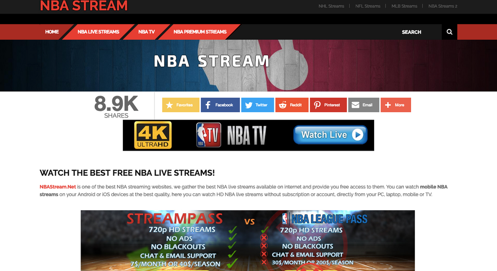 NBAstream.net meilleurs sites streaming NBA