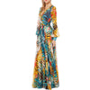 Vintage Chiffon Maxi Dresses Robe V Neck Floral Bohemian Boho Dress Long Dress