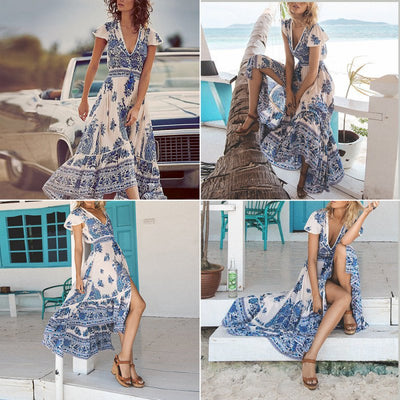 Fashion  Summer Style Women Long Maxi  Boho Evening Party Dress
