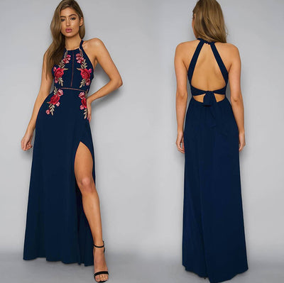 Embroidery halter backless long dress women Sexy