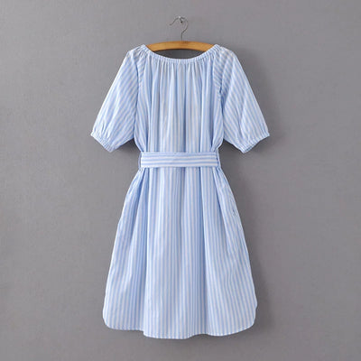 New Arrival Summer Women Short Sleeve Sundress Blue Color