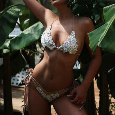 Swimwear Handmade lace diamond Bikinis Set Bandage