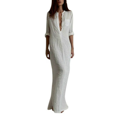 Hot! Summer Women Sexy Dresses Linen Cotton Casual Long Split Maxi
