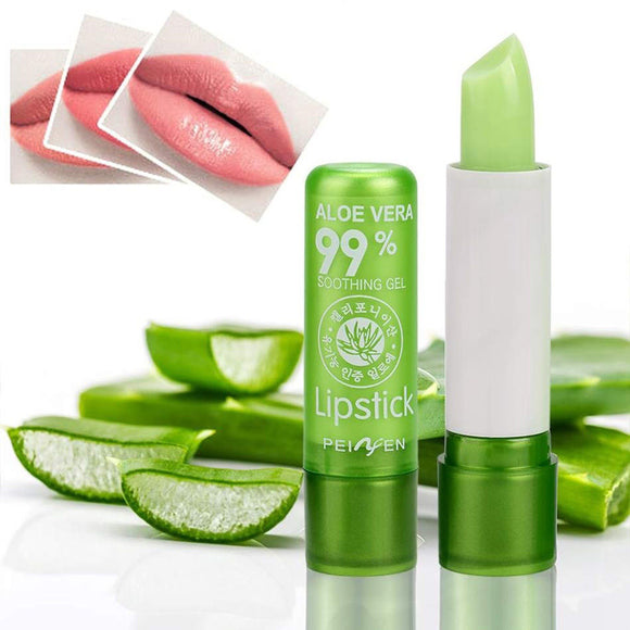 Natural Aloe Vera Moisturizing Lipstick Color Mood Changing Long Lasting