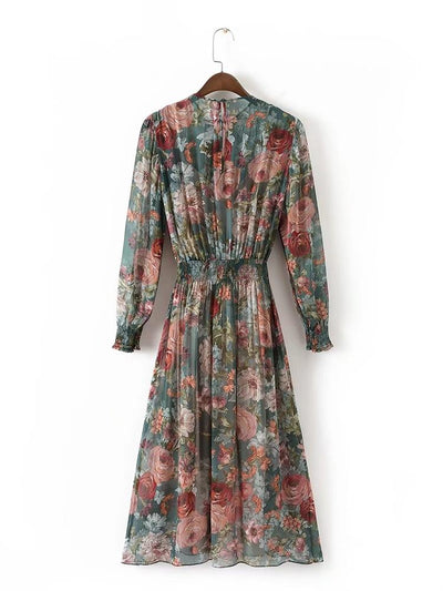 Bohemian &Vintage Printed Dress Long Sleeve O Neck