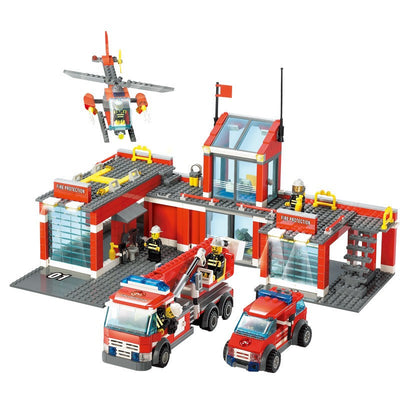 Best Kids Gift New City Fire Station 774pcs/set Building Blocks DIY Educational