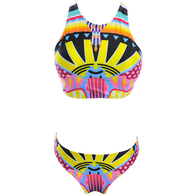Sexy Aztec High Neck Cropped Top Swimsuit  Junior Bikini