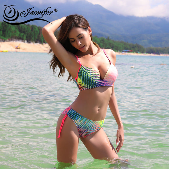 Gradient Color Bikini Women Push Up Swimsuit