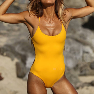 Banage Yellow  & Black Backless One Piece Swimsuit Sexy Bodysuit