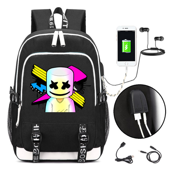 Marshmello face alone DJ Backpack with USB Charging