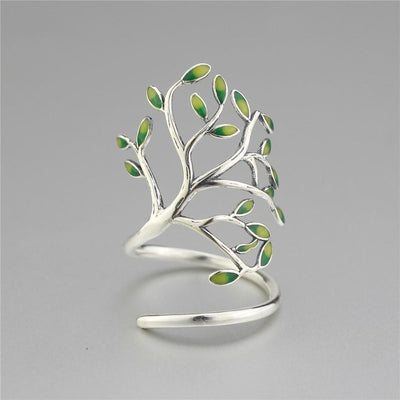 Glaze leaves open rings silver-jewelry