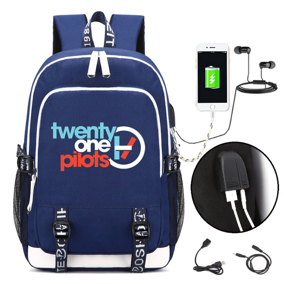 Twenty one Pilots Backpack with USB Charging Port