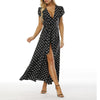 Long Maxi Dresses Polka Dot Casual Long Split Dress