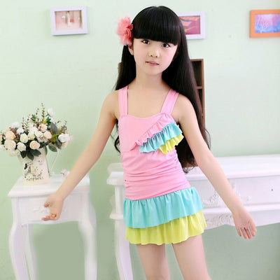 Girls Two Pieces Swimsuit  With High Waist Skirt
